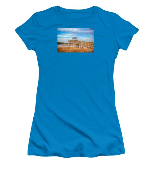 Wildlife Viewing Pier Women's T-Shirt (Junior Cut) by Marion Johnson