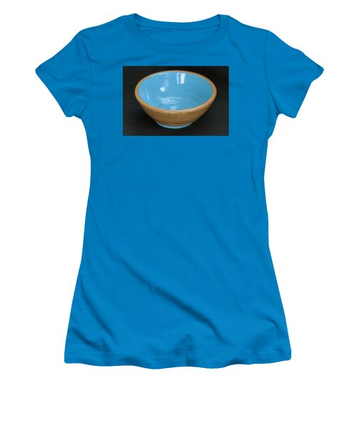Yellow And Blue Ceramic Bowl Women's T-Shirt (Junior Cut) by Suzanne Gaff