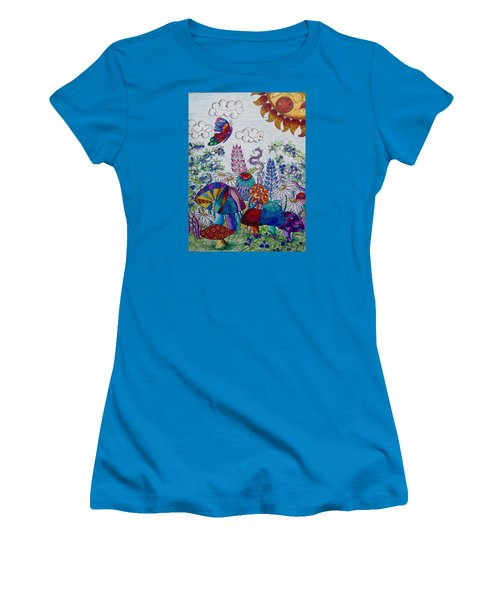 Women's T-Shirt (Junior Cut) featuring the drawing Zentangle Garden by Megan Walsh