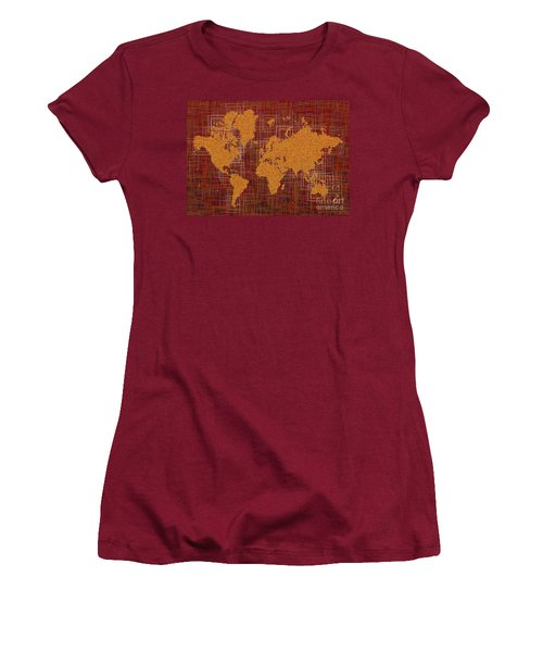 World Map Rettangoli In Orange Red And Brown Women's T-Shirt (Junior Cut) by Eleven Corners