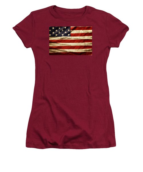 American Flag Women's T-Shirt (Junior Cut) by Les Cunliffe
