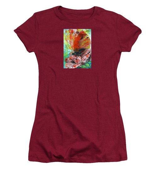 Women's T-Shirt (Junior Cut) featuring the painting Butterfly And Flower by Jasna Dragun