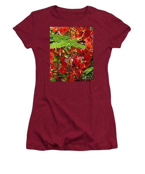Women's T-Shirt (Junior Cut) featuring the photograph Flamboyan by Lilliana Mendez