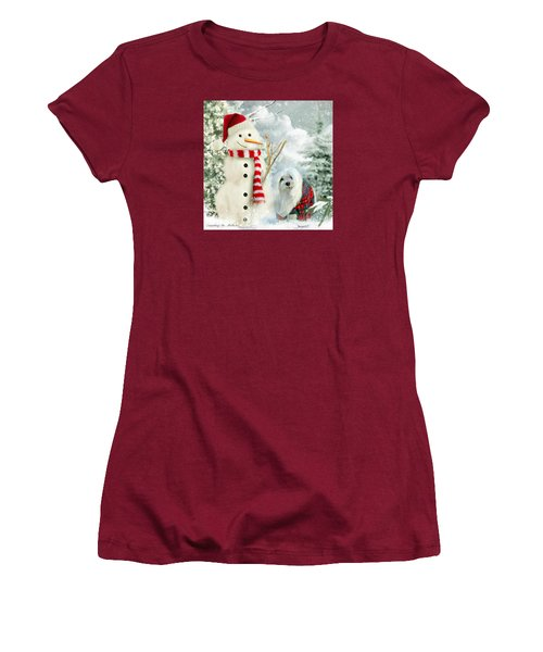 Women's T-Shirt (Junior Cut) featuring the mixed media Snowdrop And The Snowman by Morag Bates