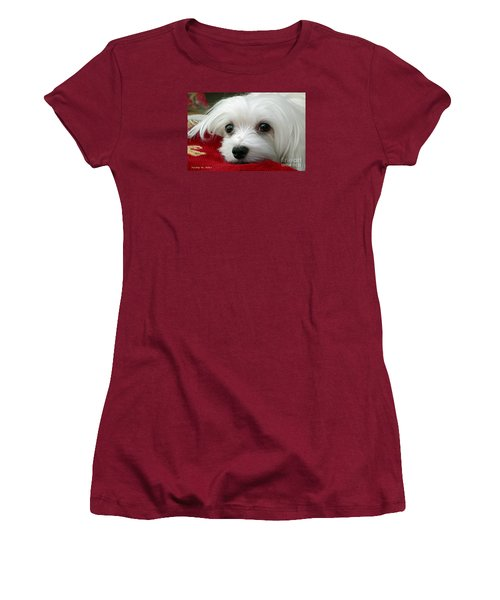 Women's T-Shirt (Junior Cut) featuring the mixed media Snowdrop The Maltese by Morag Bates