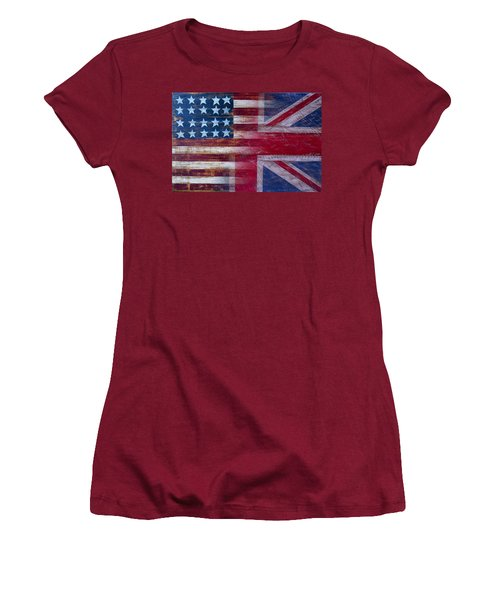 American British Flag Women's T-Shirt (Junior Cut) by Garry Gay