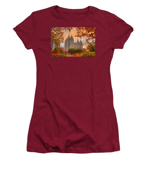Women's T-Shirt (Athletic Fit) featuring the photograph Autumn At Temple Square by Dustin  LeFevre