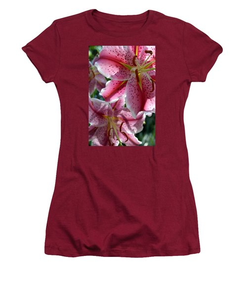 Women's T-Shirt (Athletic Fit) featuring the photograph Backlit Spotted Daylilies by Michele Myers