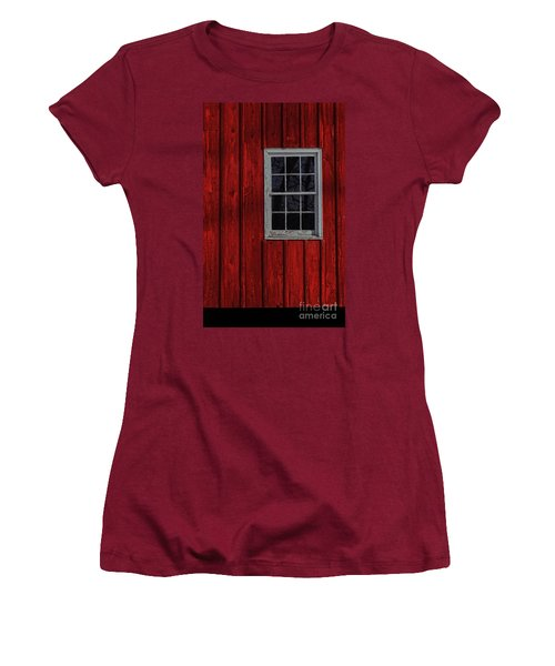 Women's T-Shirt (Junior Cut) featuring the photograph Barn Window by Debra Fedchin