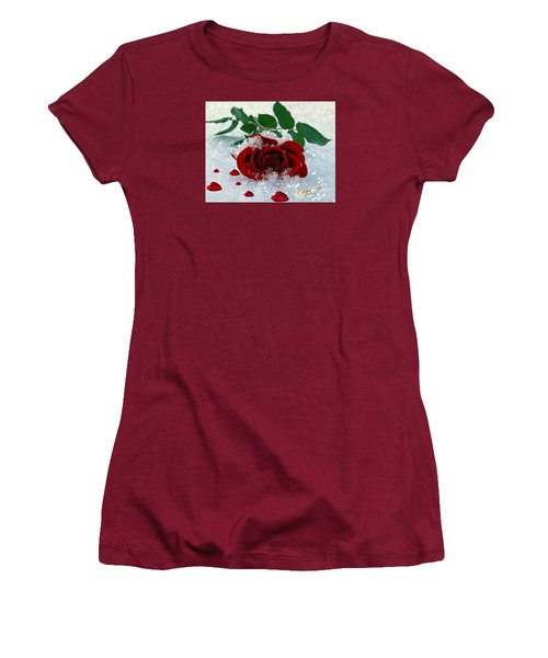 Women's T-Shirt (Junior Cut) featuring the mixed media Be Mine by Morag Bates
