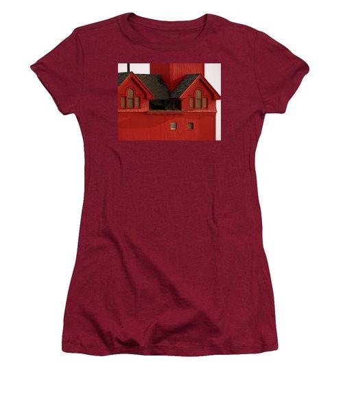 Big Red Holland Harbor Light Michigan Women's T-Shirt (Athletic Fit)