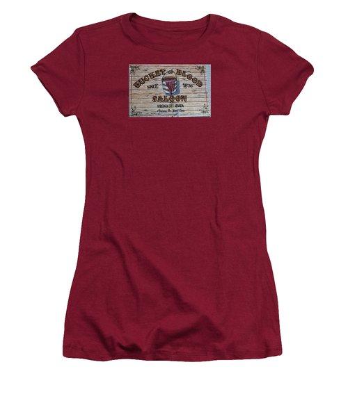 Bucket Of Blood Saloon 1876 Women's T-Shirt (Junior Cut) by David Millenheft