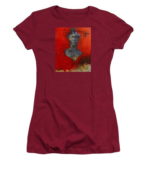 Women's T-Shirt (Junior Cut) featuring the painting Bust Ted - With Sawdust And Tinsel  by Cliff Spohn
