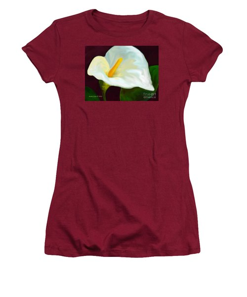 Women's T-Shirt (Junior Cut) featuring the painting Calla Lily Painting by Annie Zeno