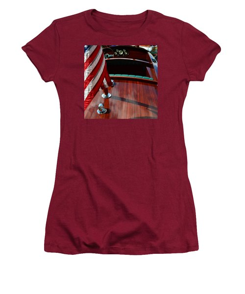 Chris Craft With Flag And Steering Wheel Women's T-Shirt (Junior Cut) by Michelle Calkins