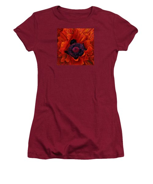 Close Up Poppy Women's T-Shirt (Athletic Fit)