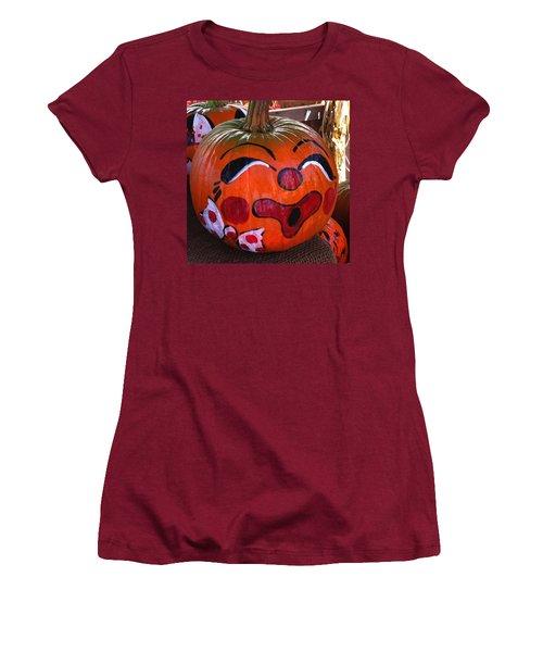 Women's T-Shirt (Junior Cut) featuring the photograph Clown Pumpkin by Denyse Duhaime