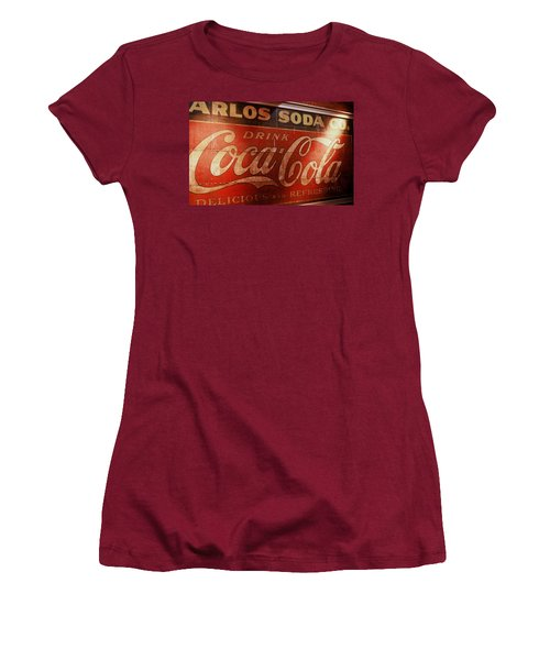Women's T-Shirt (Junior Cut) featuring the photograph Coca Cola Sign by Rodney Lee Williams