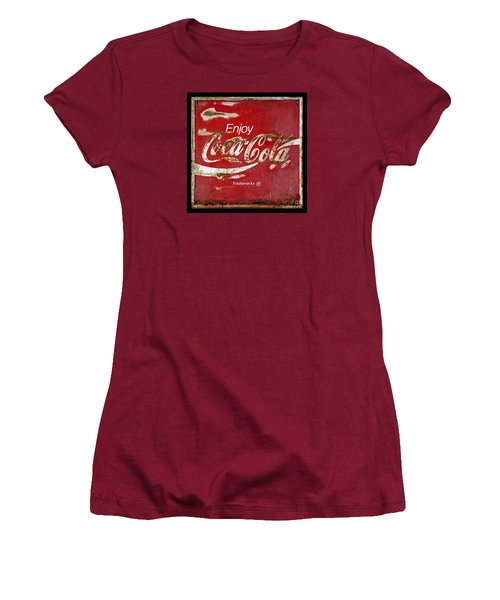 Coca Cola Vintage Rusty Sign Women's T-Shirt (Junior Cut) by John Stephens