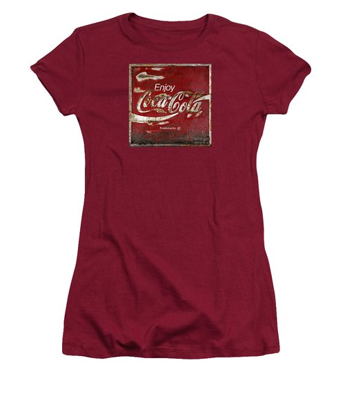 Coca Cola Wood Grunge Sign Women's T-Shirt (Junior Cut) by John Stephens