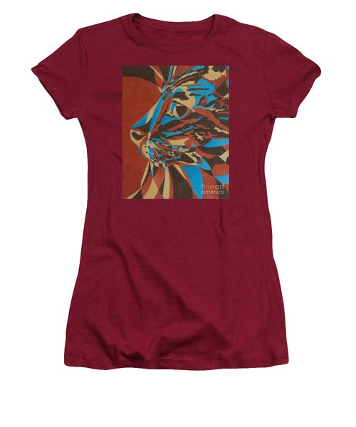 Women's T-Shirt (Junior Cut) featuring the painting Color Cat II by Pamela Clements