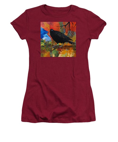 Crow On A Branch Women's T-Shirt (Junior Cut) by Robin Maria Pedrero
