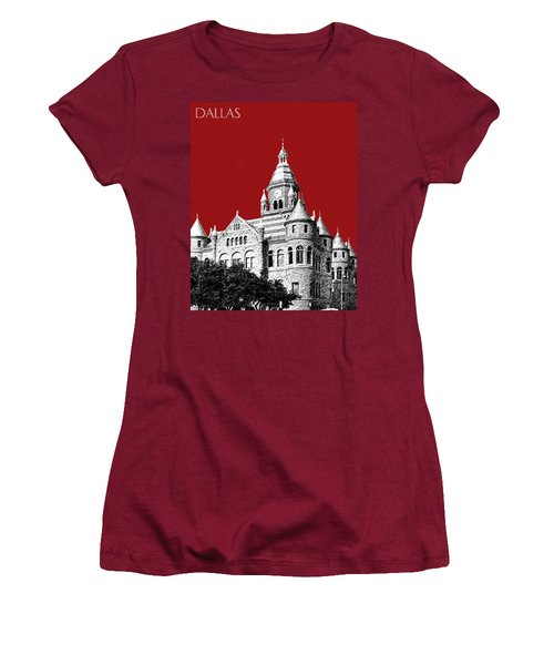 Dallas Skyline Old Red Courthouse - Dark Red Women's T-Shirt (Athletic Fit)