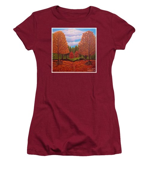 Women's T-Shirt (Junior Cut) featuring the painting Dance Of Autumn Gold With Blue Skies Revised by Kimberlee Baxter