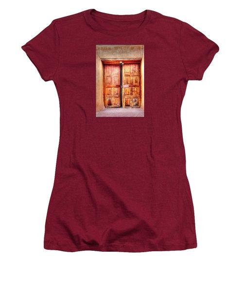 Women's T-Shirt (Junior Cut) featuring the photograph Doors To The Inner Santuario De Chimayo by Lanita Williams