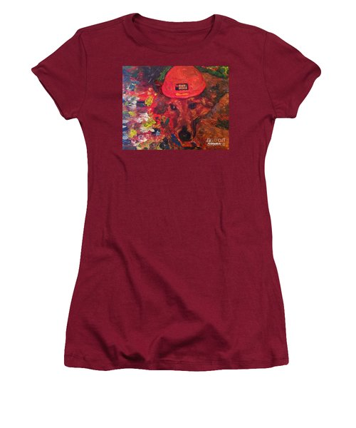 Women's T-Shirt (Junior Cut) featuring the painting Alameda Radar  by Linda Weinstock