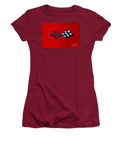 Early C3 Corvette Emblem Red Women's T-Shirt (Athletic Fit)