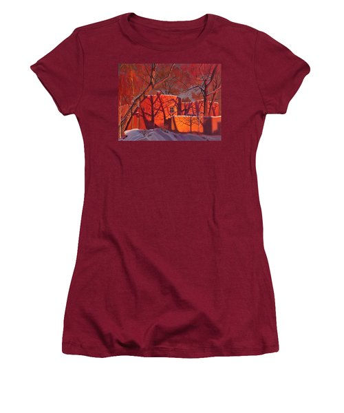 Women's T-Shirt (Junior Cut) featuring the painting Evening Shadows On A Round Taos House by Art James West