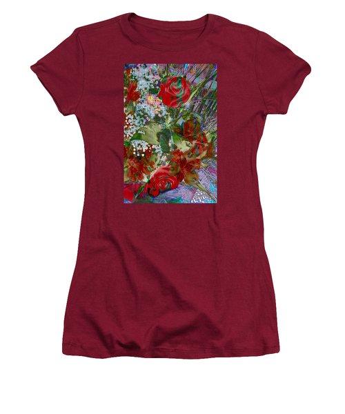 Women's T-Shirt (Junior Cut) featuring the digital art Flowers In Bloom by Liane Wright