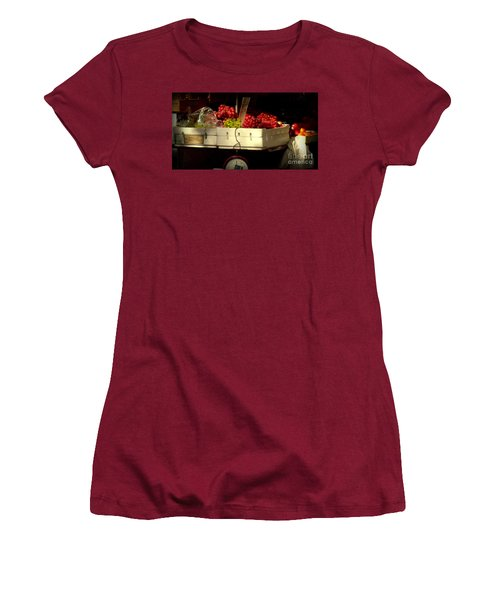 Grapes With Weighing Scale Women's T-Shirt (Junior Cut) by Miriam Danar