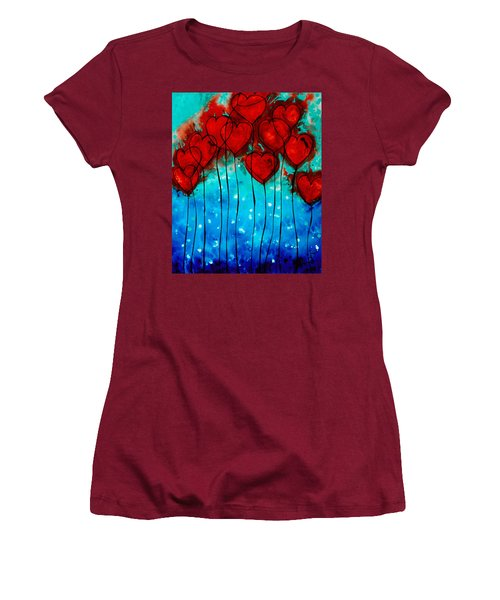 Women's T-Shirt (Athletic Fit) featuring the painting Hearts On Fire - Romantic Art By Sharon Cummings by Sharon Cummings