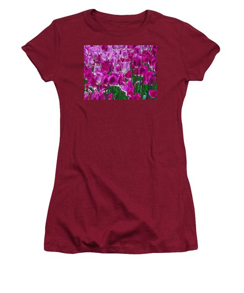 Hot Pink Tulips 3 Women's T-Shirt (Junior Cut) by Allen Beatty