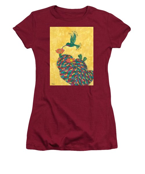 Women's T-Shirt (Junior Cut) featuring the painting Hummingbird And Prickly Pear by Susie Weber