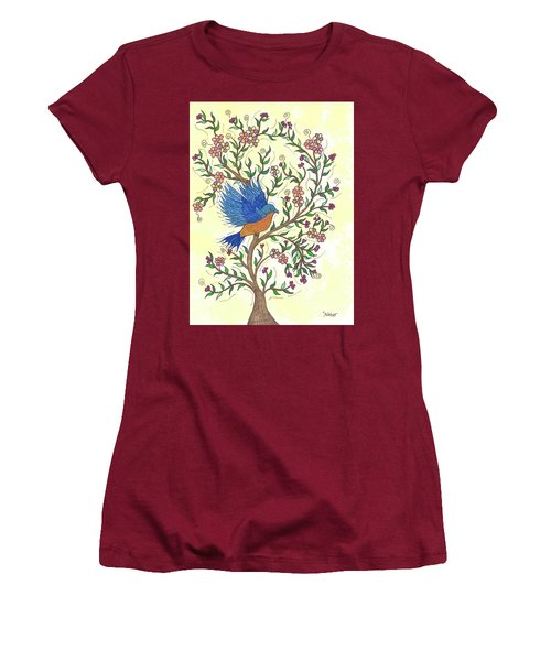 Women's T-Shirt (Junior Cut) featuring the painting In The Garden - Bluebird by Susie WEBER
