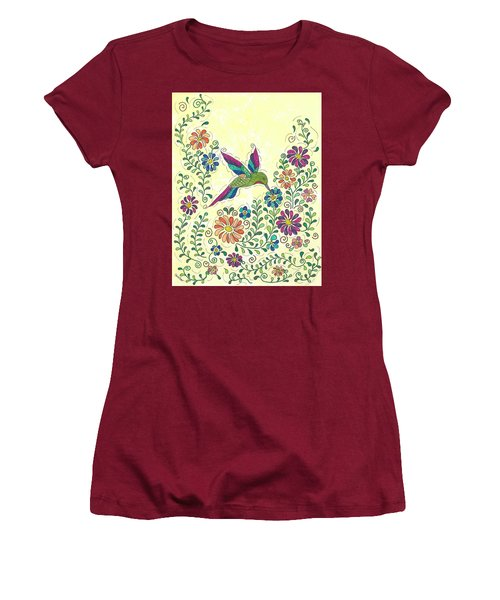 Women's T-Shirt (Junior Cut) featuring the painting In The Garden - Hummer by Susie WEBER