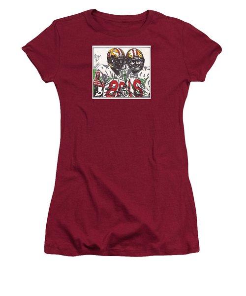 Joe Montana And Jerry Rice Women's T-Shirt (Junior Cut) by Jeremiah Colley