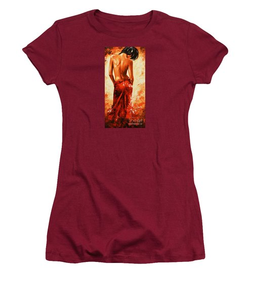 Lady In Red 27re Large  Women's T-Shirt (Junior Cut) by Emerico Imre Toth