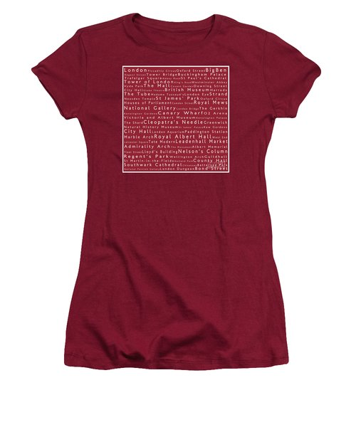 London In Words Red Women's T-Shirt (Junior Cut) by Sabine Jacobs