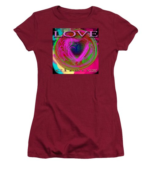 Women's T-Shirt (Athletic Fit) featuring the digital art Love Over Chaos by Clayton Bruster