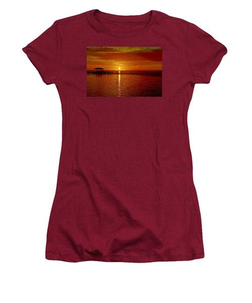 Women's T-Shirt (Junior Cut) featuring the photograph Mass Migration Of Birds With Colorful Clouds At Sunrise On Santa Rosa Sound by Jeff at JSJ Photography