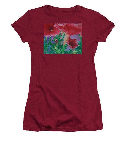 Women's T-Shirt (Junior Cut) featuring the painting Petunia Skies by Pamela Clements