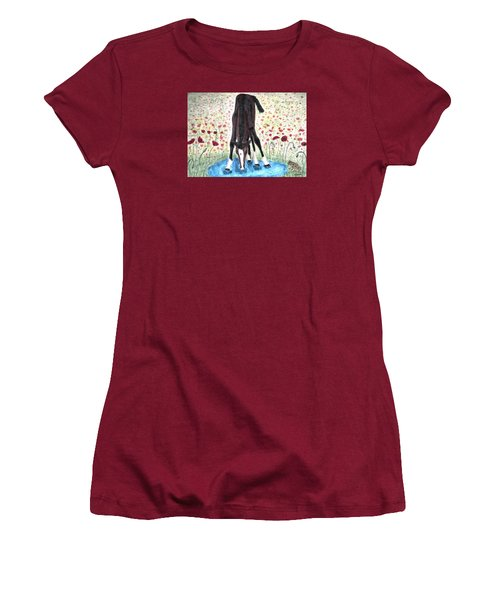 Women's T-Shirt (Junior Cut) featuring the painting Poppies N  Puddles by Angela Davies