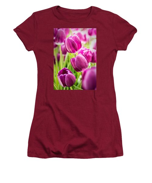 Purple Tulip Garden Women's T-Shirt (Athletic Fit)