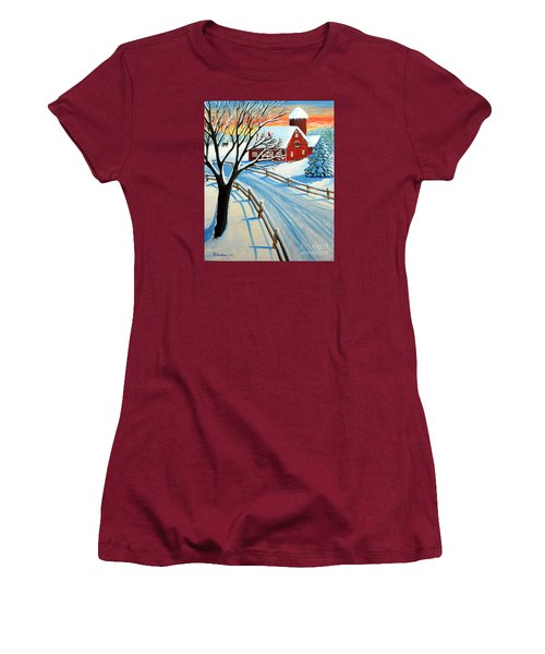 Women's T-Shirt (Junior Cut) featuring the painting Red Barn In Winter by Patricia L Davidson