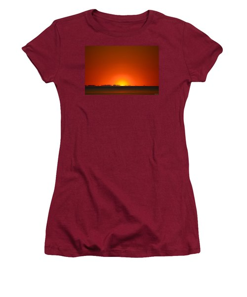 Women's T-Shirt (Junior Cut) featuring the photograph Red Sunset With Superior Mirage On Santa Rosa Sound by Jeff at JSJ Photography