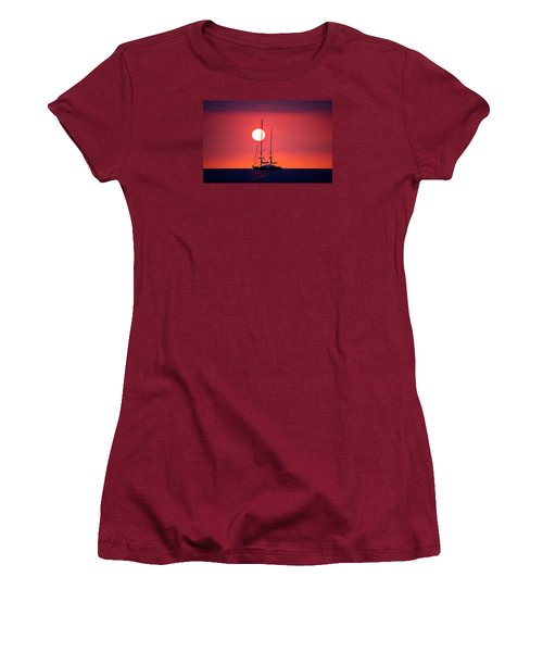 Sailboat Sunset Women's T-Shirt (Junior Cut) by Venetia Featherstone-Witty